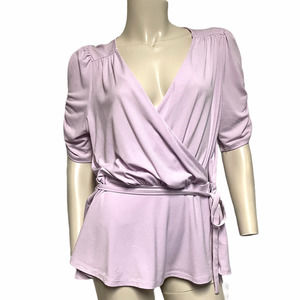 Express lilac LG belted faux wrap blouse
